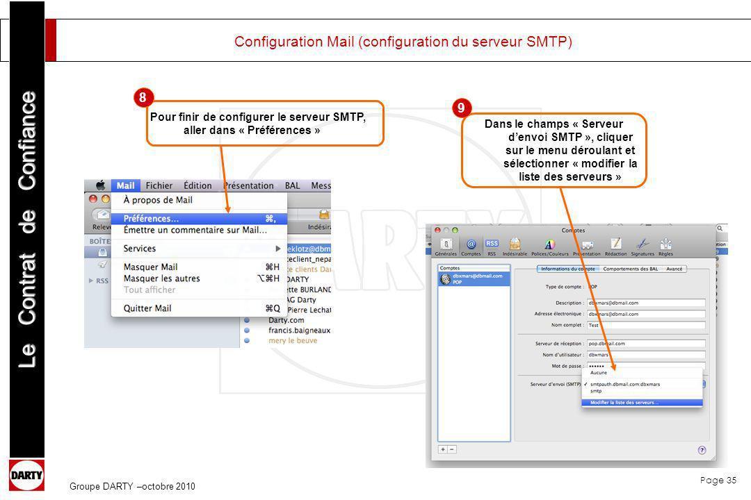 Configuration Mail (configuration du serveur SMTP)