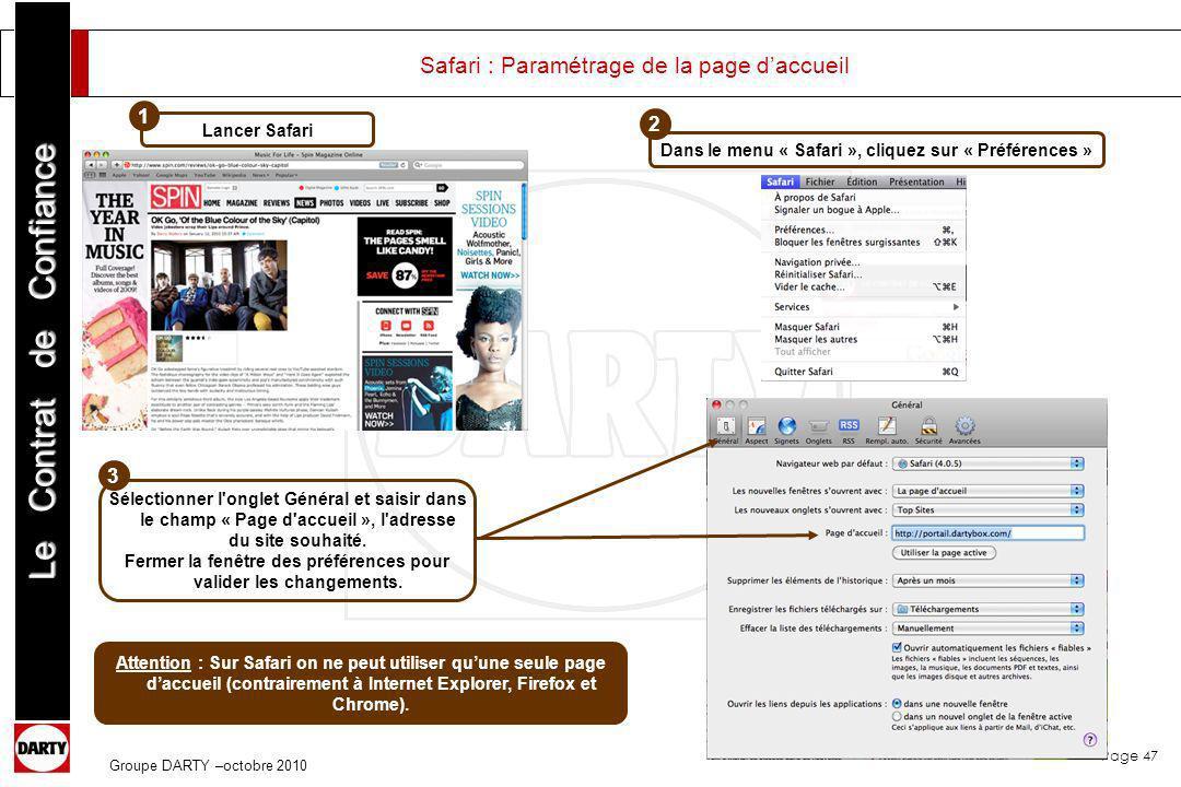 Safari : Paramétrage de la page d'accueil