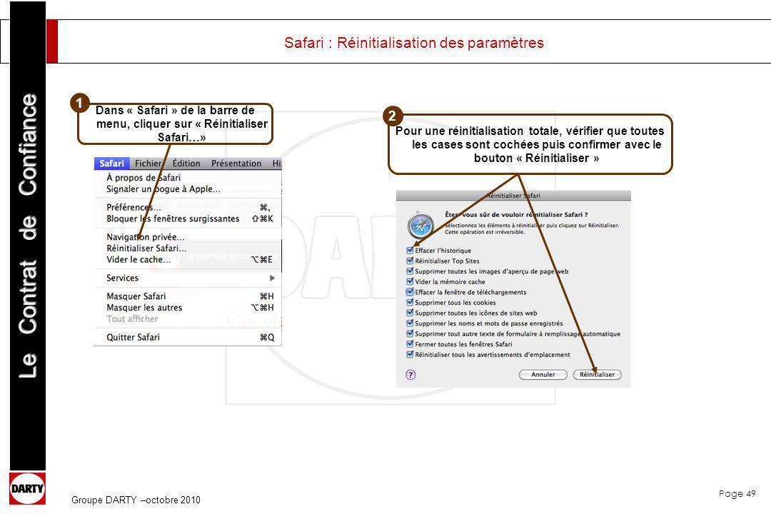 Safari : Réinitialisation des paramètres