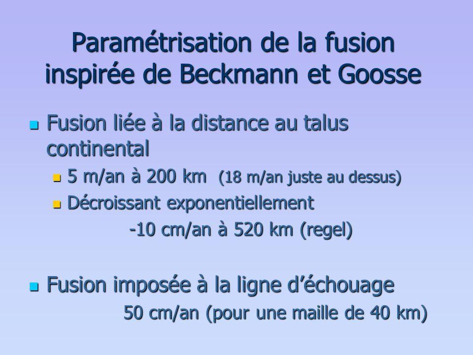 Paramétrisation de la fusion inspirée de Beckmann et Goosse