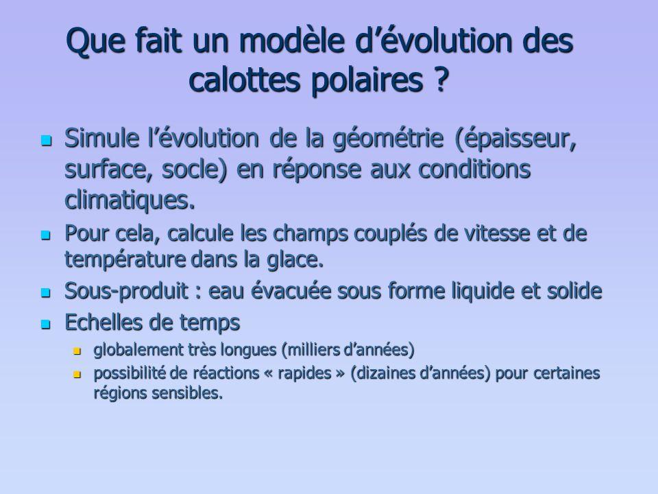 Que fait un modèle d'évolution des calottes polaires