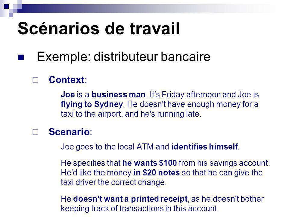 Scénarios de travail Exemple: distributeur bancaire Context: Scenario:
