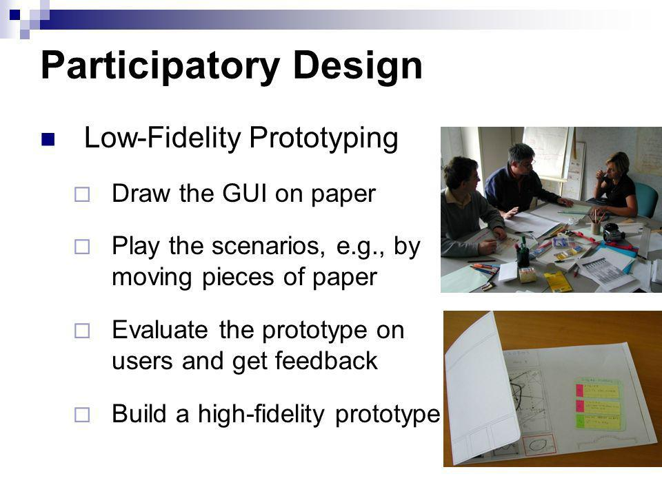 Participatory Design Low-Fidelity Prototyping Draw the GUI on paper