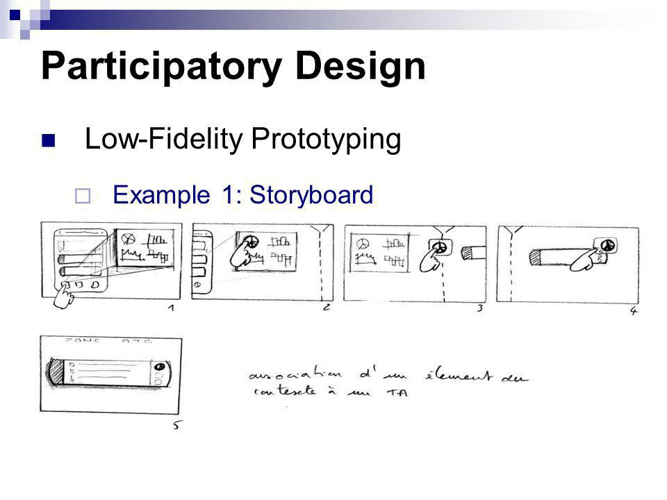 Participatory Design Low-Fidelity Prototyping Example 1: Storyboard