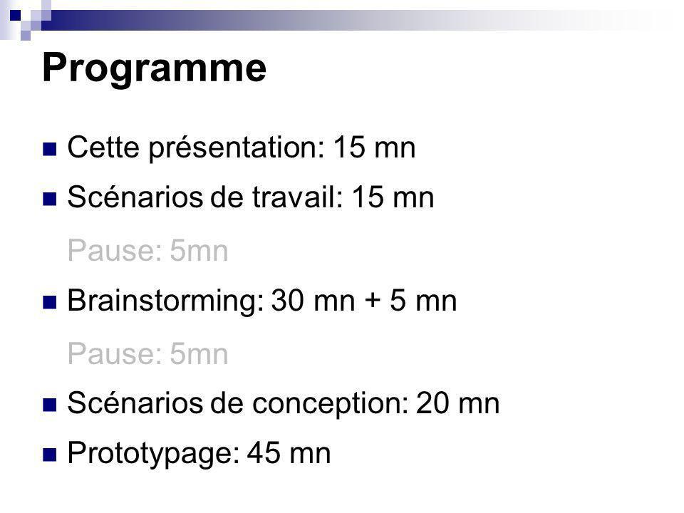 Programme Cette présentation: 15 mn