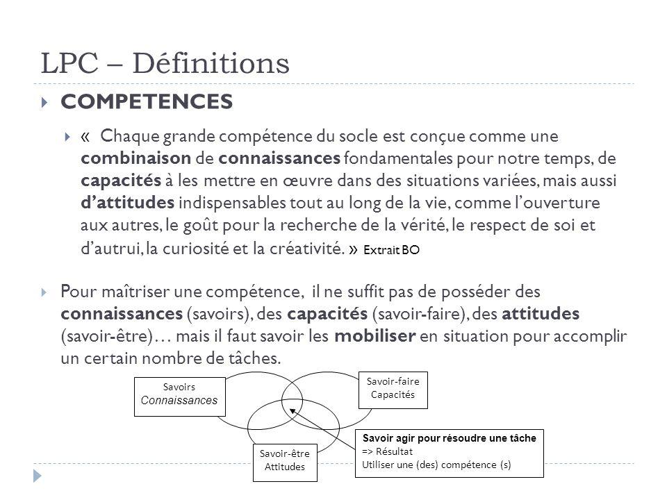 LPC – Définitions COMPETENCES.