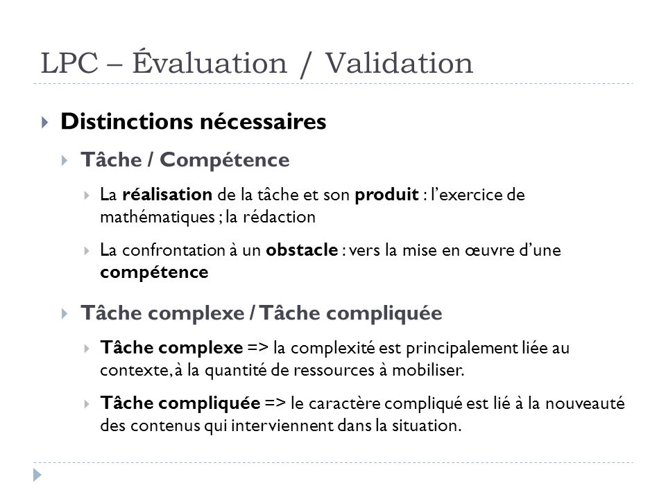 LPC – Évaluation / Validation