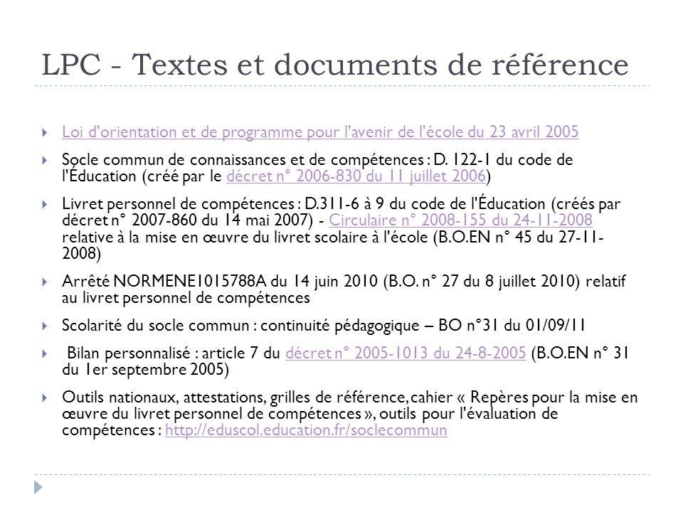 LPC - Textes et documents de référence