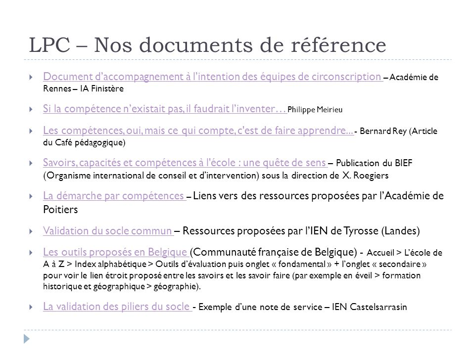 LPC – Nos documents de référence