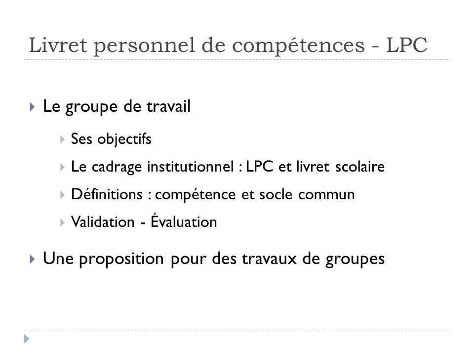 Livret personnel de compétences - LPC