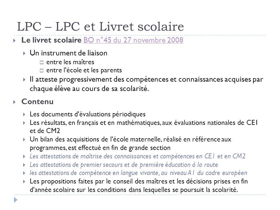 LPC – LPC et Livret scolaire