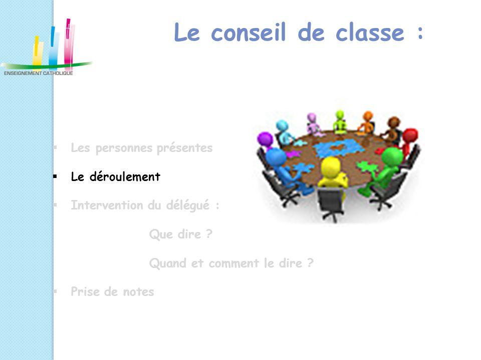Le conseil de classe : Les personnes présentes Le déroulement