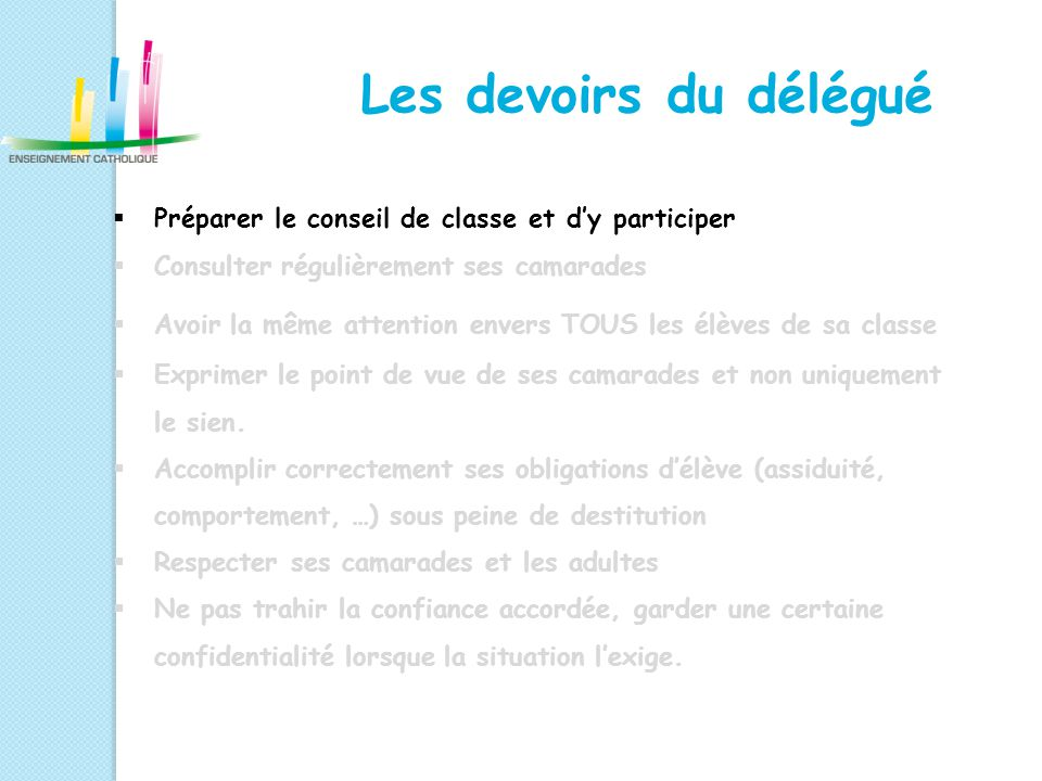 Les devoirs du délégué Préparer le conseil de classe et d'y participer