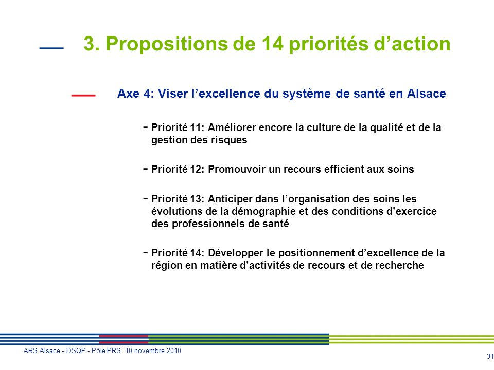 3. Propositions de 14 priorités d'action