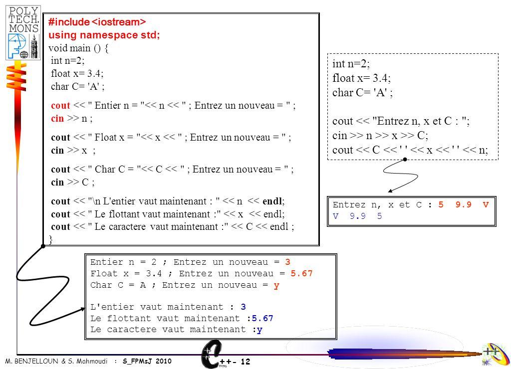 cout << Entrez n, x et C : ;