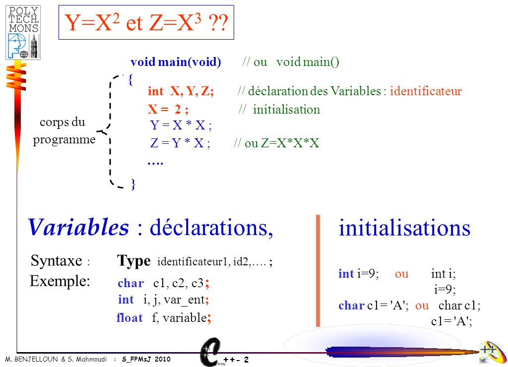 Variables : déclarations, initialisations