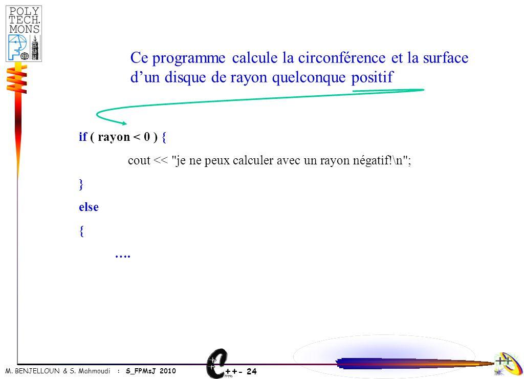 Ce programme calcule la circonférence et la surface d'un disque de rayon quelconque positif