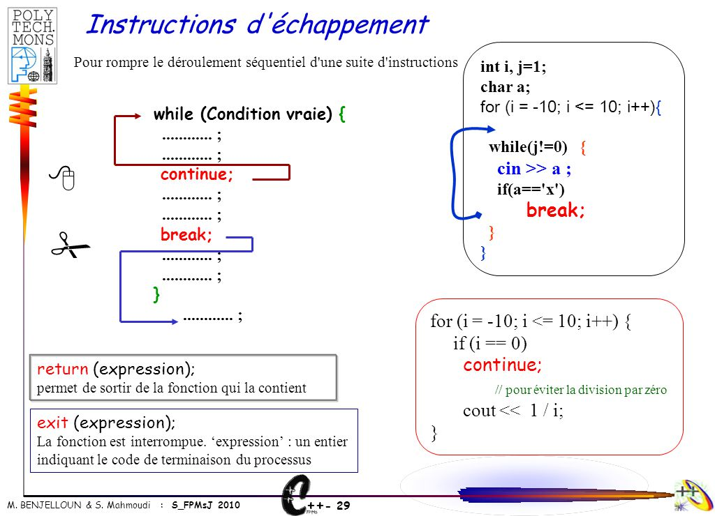 # 8 Instructions d échappement for (i = -10; i <= 10; i++) {