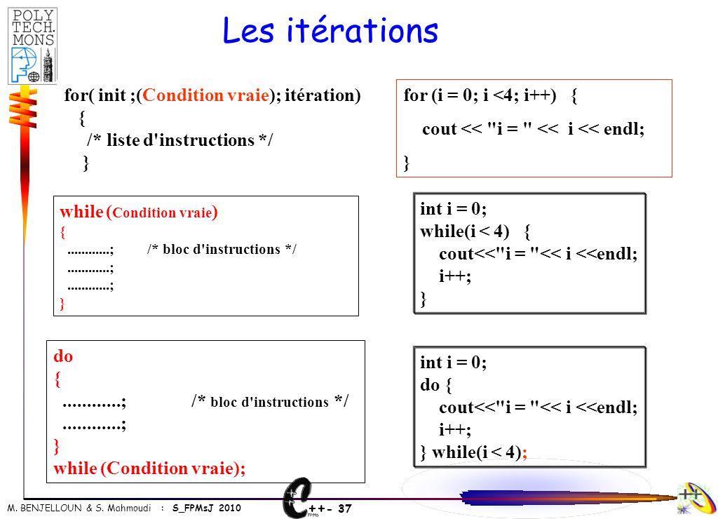 Les itérations for( init ;(Condition vraie); itération) {
