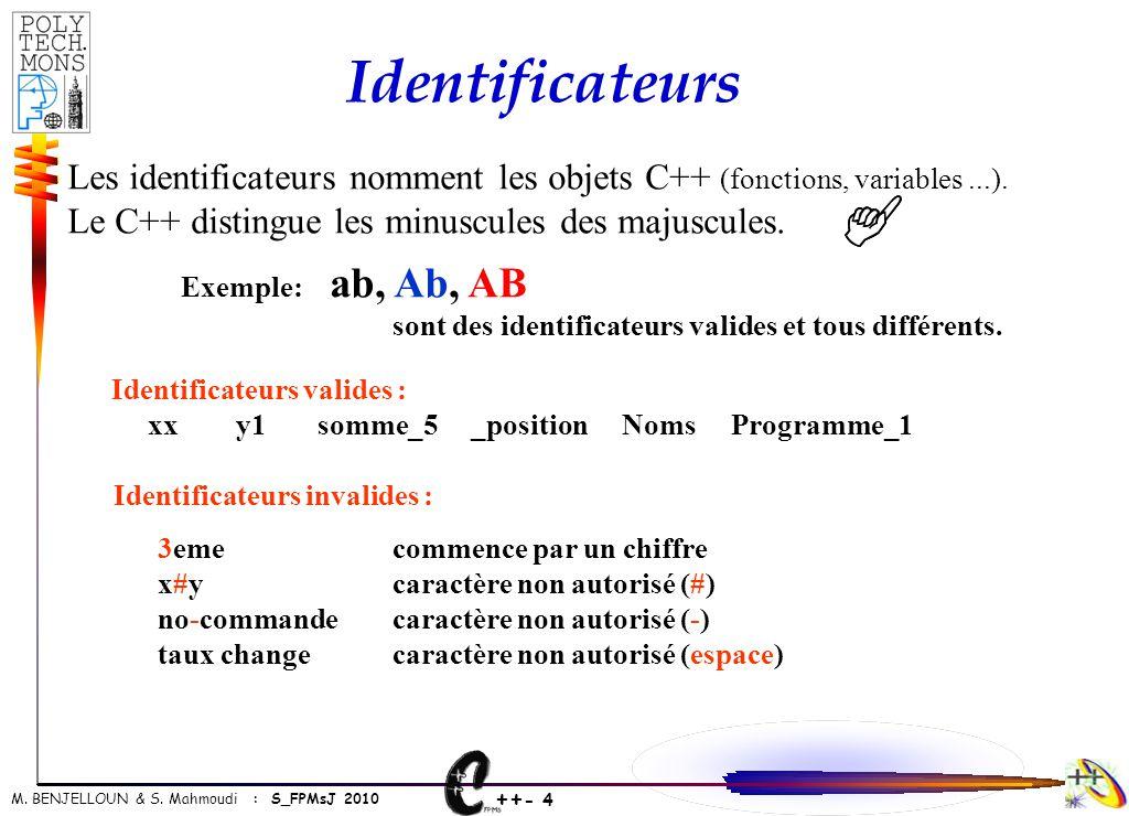 Identificateurs Les identificateurs nomment les objets C++ (fonctions, variables ...). Le C++ distingue les minuscules des majuscules.