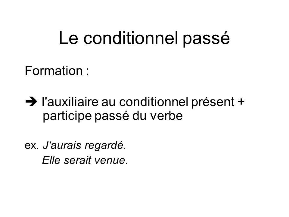 Le conditionnel passé Formation :