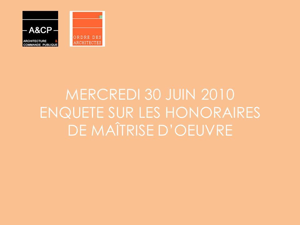 MERCREDI 30 JUIN 2010 ENQUETE SUR LES HONORAIRES DE MAÎTRISE D'OEUVRE