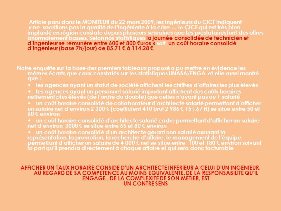 Article paru dans le MONITEUR du 22 mars 2009, les ingénieurs du CICF indiquent « ne sacrifions pas la qualité de l'ingénierie à la crise … le CICF qui est très bien implanté en région constate depuis plusieurs semaines que les prestataires font des offres anormalement basses. Selon nos statistiques la journée consolidée de technicien et d'ingénieur se rémunère entre 600 et 800 €uros » soit un coût horaire consolidé d'ingénieur (base 7h/jour) de 85.71 € à 114.28 €