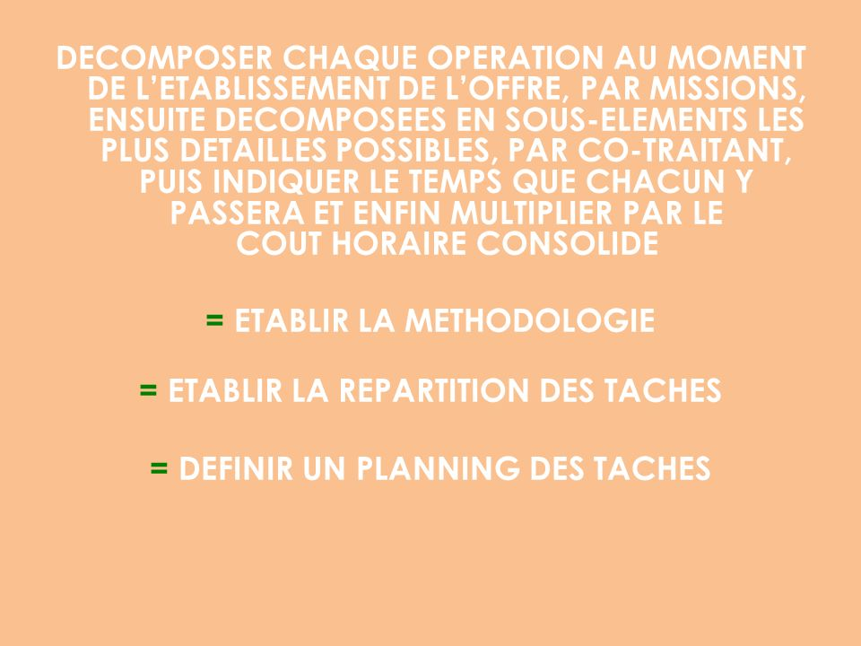 = ETABLIR LA METHODOLOGIE = ETABLIR LA REPARTITION DES TACHES