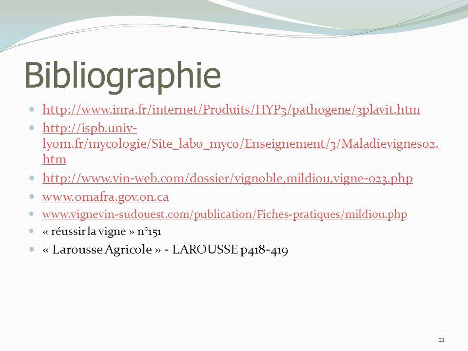 Bibliographie http://www.inra.fr/internet/Produits/HYP3/pathogene/3plavit.htm.