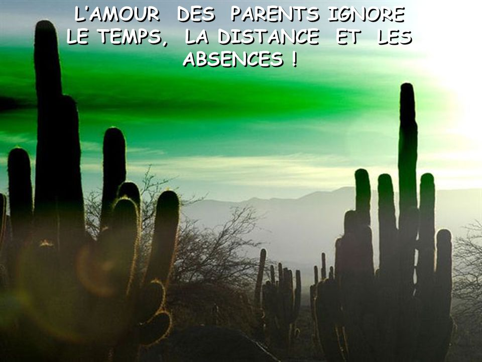 L'AMOUR DES PARENTS IGNORE LE TEMPS, LA DISTANCE ET LES ABSENCES !