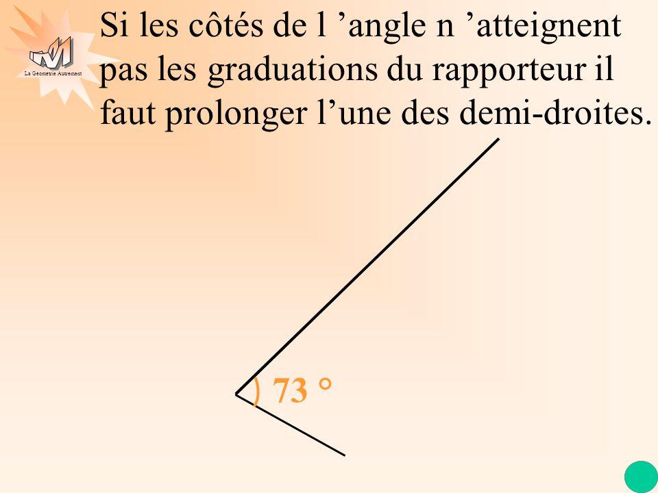 Si les côtés de l 'angle n 'atteignent pas les graduations du rapporteur il faut prolonger l'une des demi-droites.