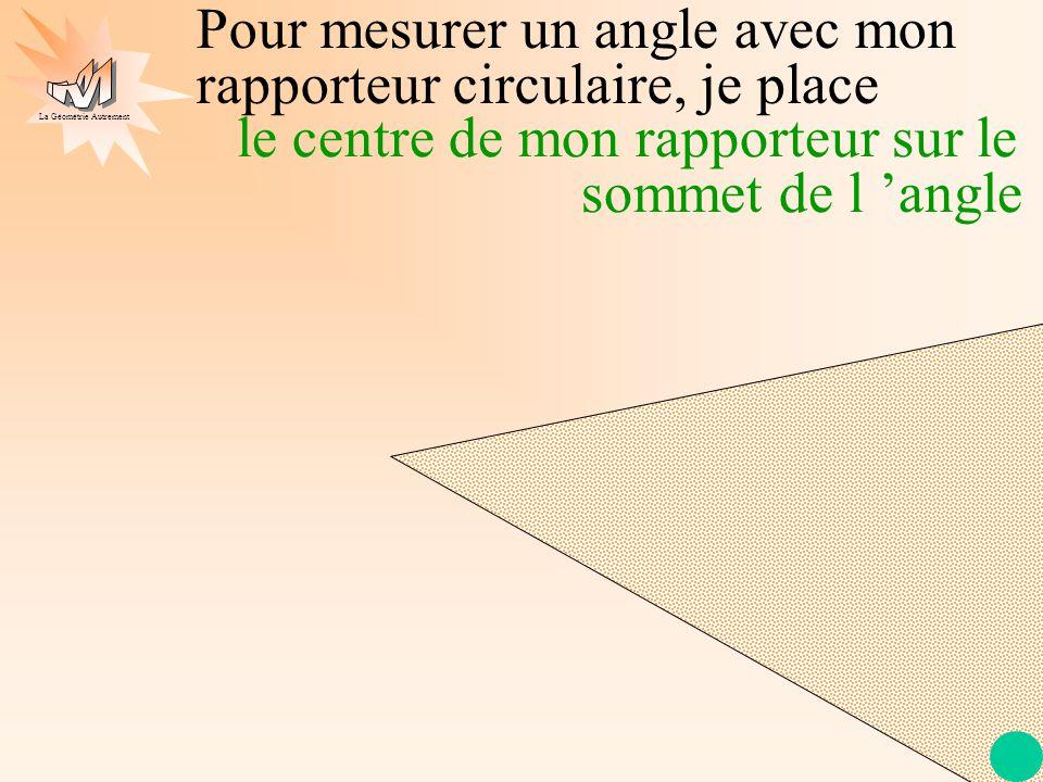 Pour mesurer un angle avec mon rapporteur circulaire, je place
