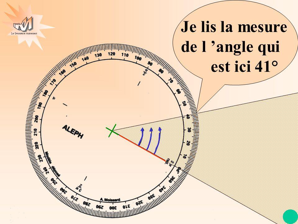 Je lis la mesure de l 'angle qui est ici 41°