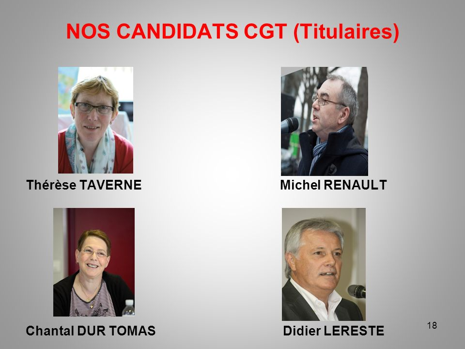 NOS CANDIDATS CGT (Titulaires)