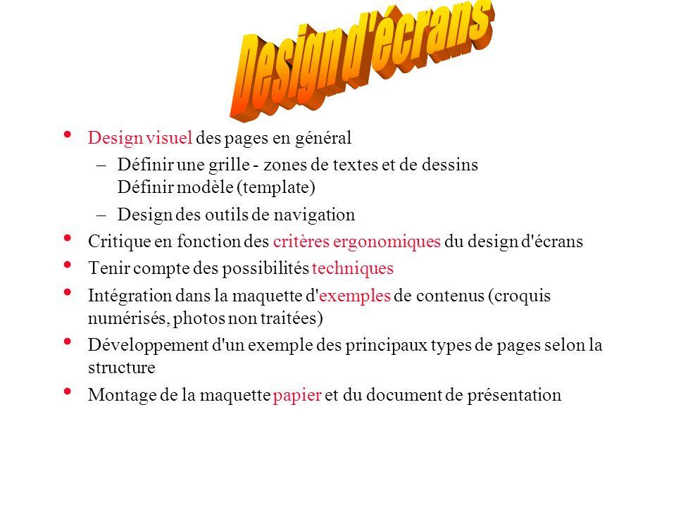 Design d écrans Design visuel des pages en général