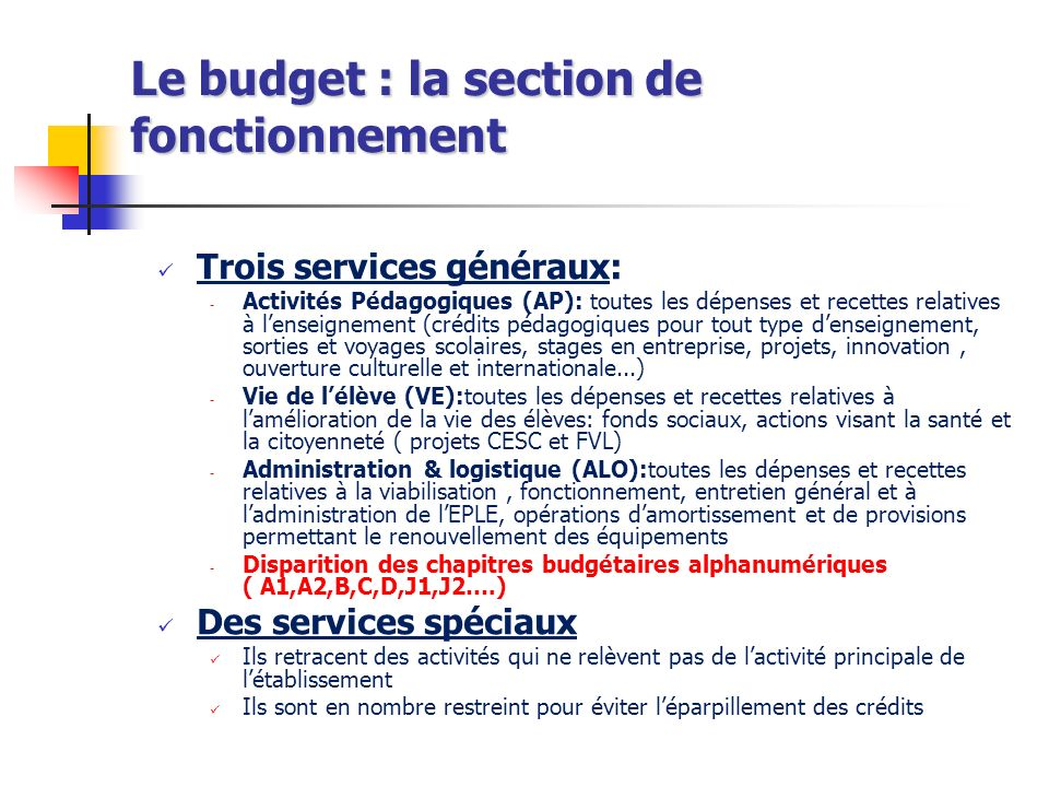 Le budget : la section de fonctionnement