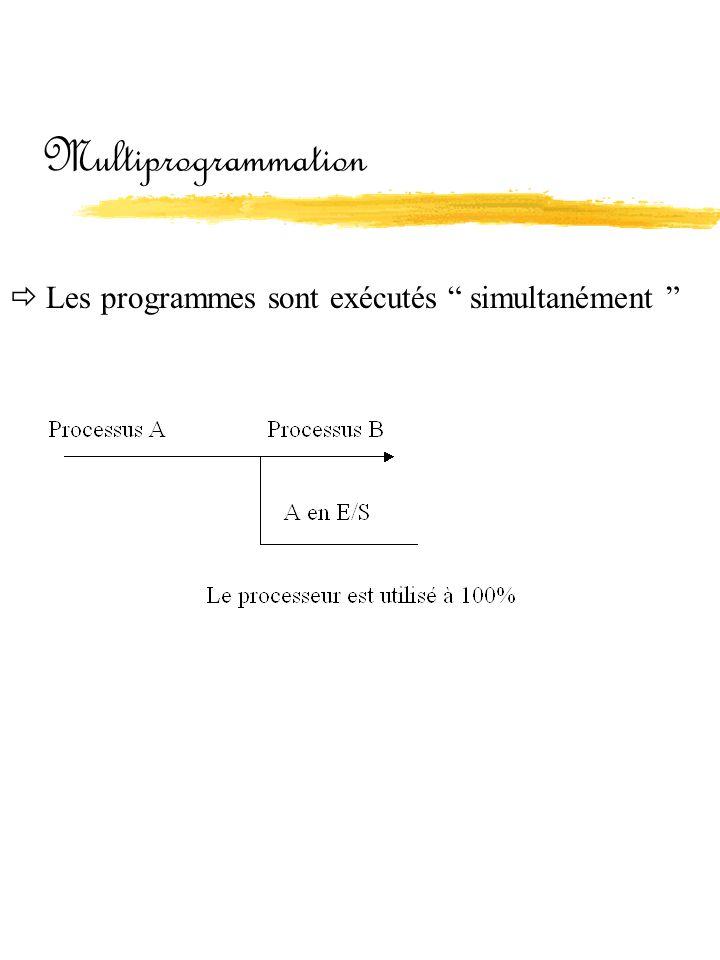 Multiprogrammation  Les programmes sont exécutés simultanément
