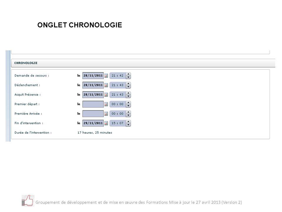 ONGLET CHRONOLOGIE Groupement de développement et de mise en œuvre des Formations Mise à jour le 27 avril 2013 (Version 2)