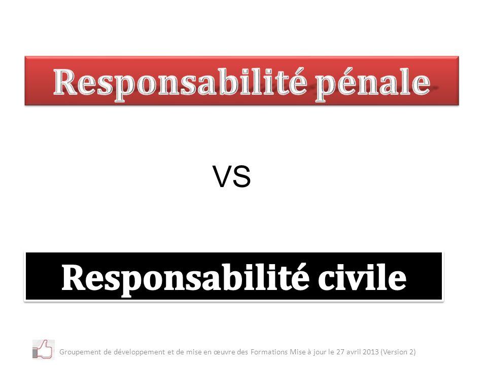 Responsabilité pénale Responsabilité civile