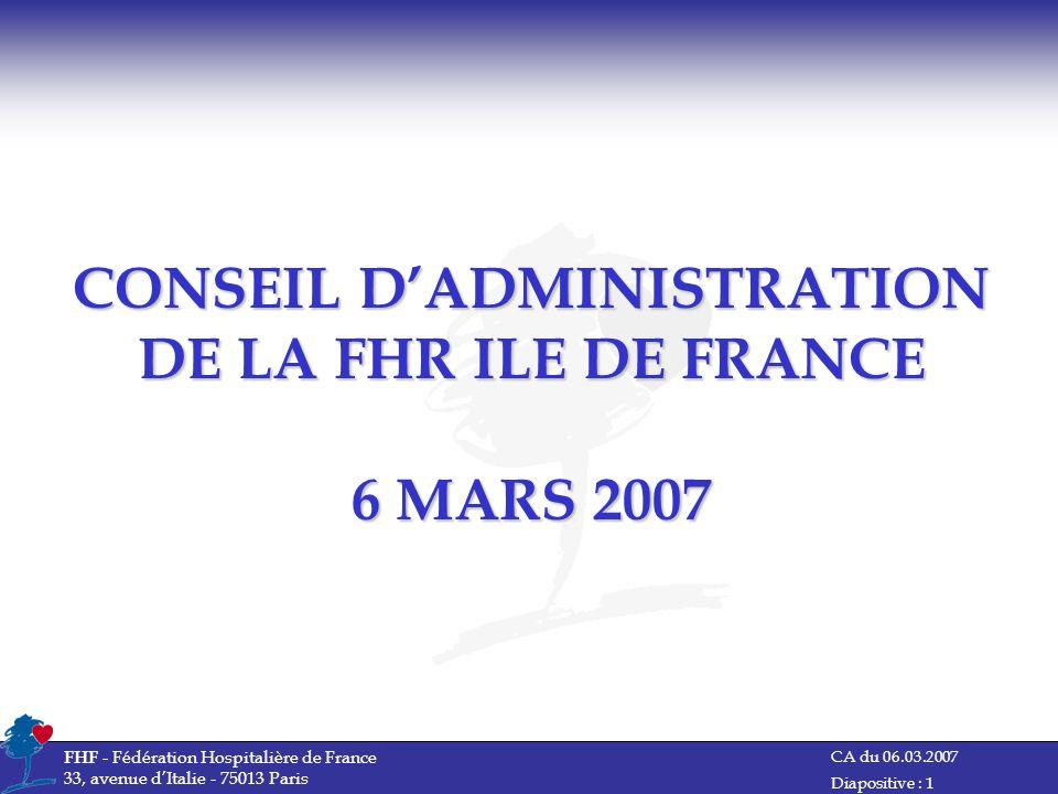 CONSEIL D'ADMINISTRATION DE LA FHR ILE DE FRANCE 6 MARS 2007