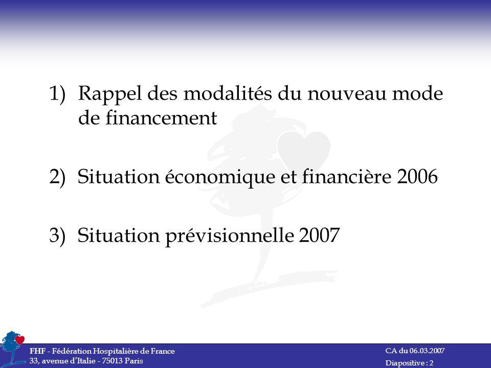Rappel des modalités du nouveau mode de financement