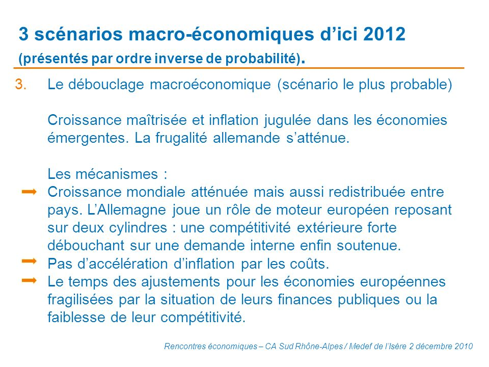 3 scénarios macro-économiques d'ici 2012 (présentés par ordre inverse de probabilité).