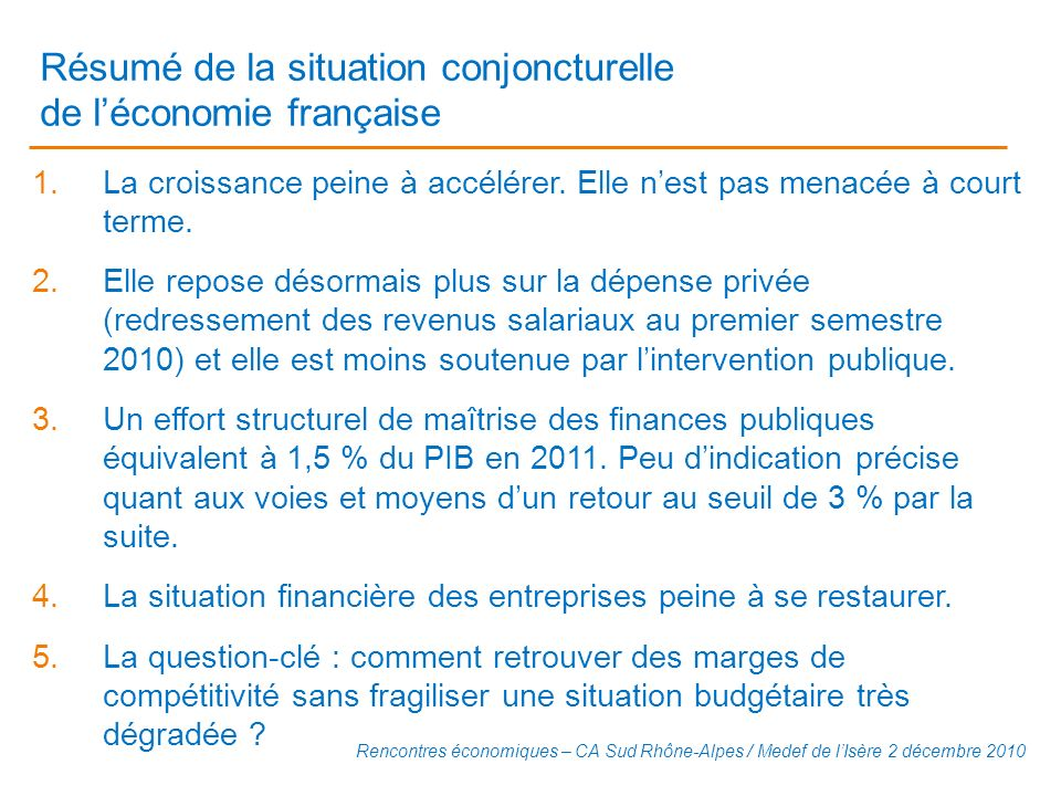 Résumé de la situation conjoncturelle de l'économie française