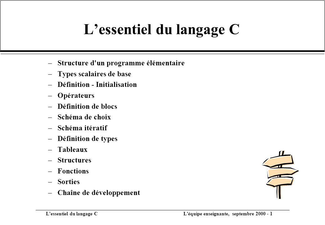 L'essentiel du langage C