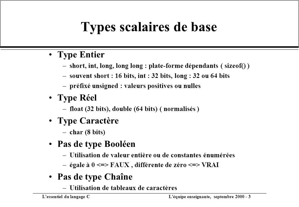 Types scalaires de base
