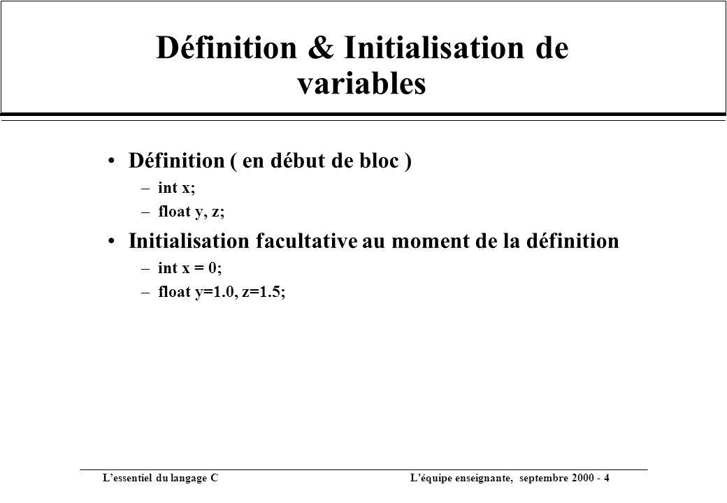 Définition & Initialisation de variables