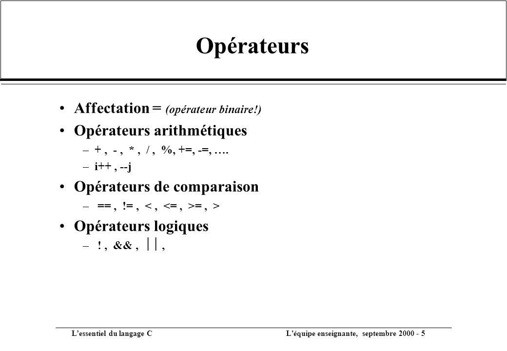 Opérateurs Affectation = (opérateur binaire!) Opérateurs arithmétiques