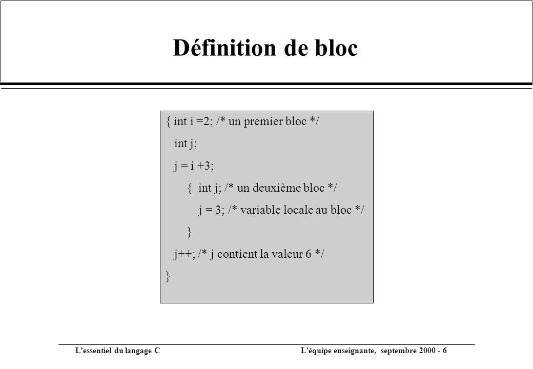 Définition de bloc { int i =2; /* un premier bloc */ int j; j = i +3;