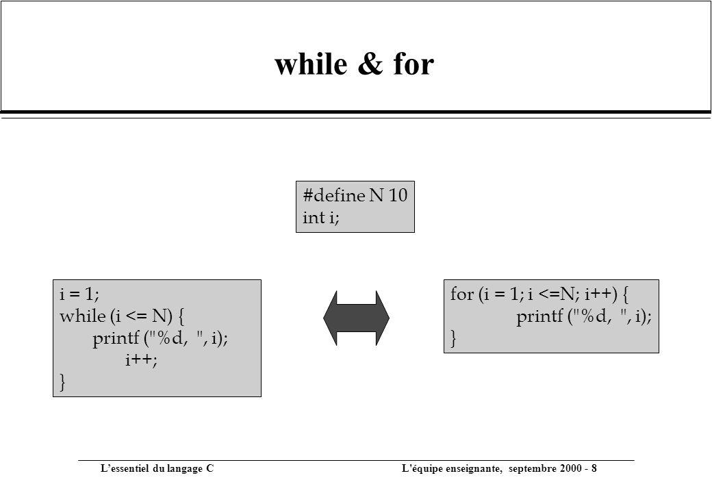 while & for #define N 10 int i; i = 1; while (i <= N) {