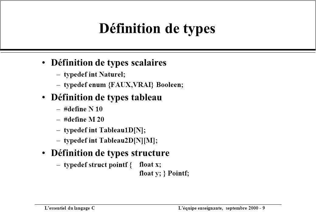 Définition de types Définition de types scalaires